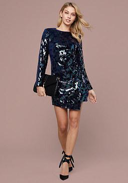 Bebe Sequin Velour Mini Dress
