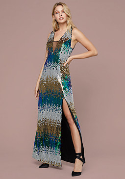 Bebe Colorful Sequin Plunge Gown