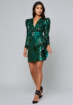 bebe Sequin Puff Sleeve Dress
