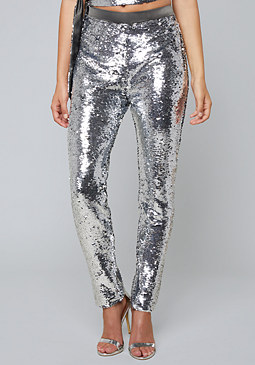 bebe Sequin Zip Jogger Pants