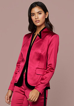 Velvet Trim Satin Blazer at bebe