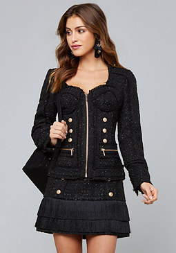 bebe Soraya Tweed Bustier Jacket