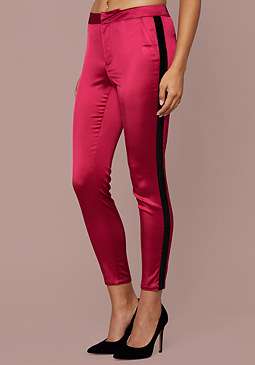 Velvet Stripe Satin Pants at bebe