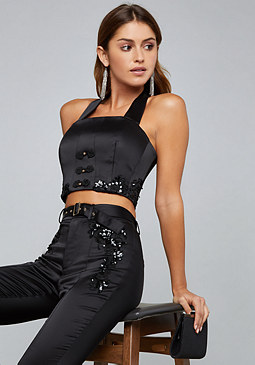 bebe Embellished Satin Top