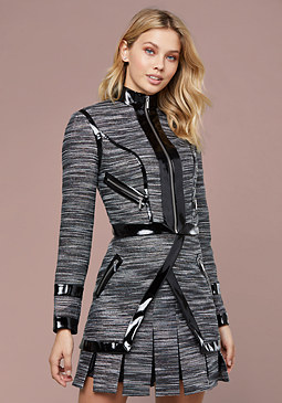 bebe Naomi Metallic Tweed Jacket