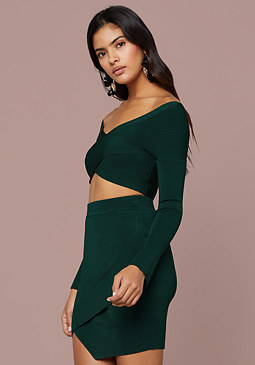 bebe Chana Ribbed Crop Sweater