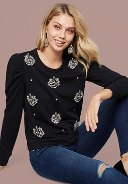 bebe Embellished Puff Sleeve Top