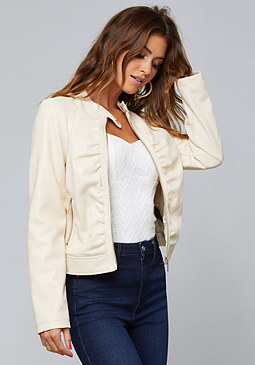 bebe Ruched Faux Leather Jacket