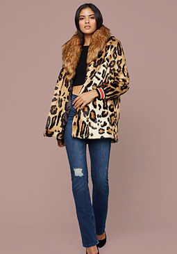 bebe Big Collar Leopard Coat