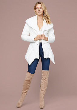 bebe Laura Shawl Collar Puffer
