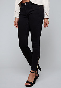 bebe Jewel Button Skinny Jeans