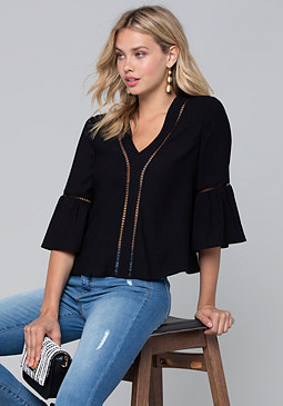 bebe Lattice Trim Flowy Top
