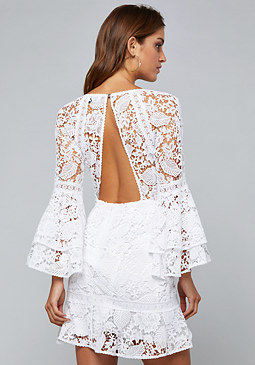 bebe Lace Open Back Dress