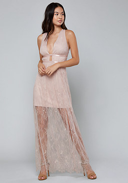 bebe Flowy Lace Maxi Dress