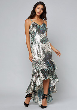 bebe Landon Ruffled Hi-Lo Gown