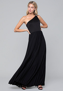 bebe Pleated One Shoulder Gown