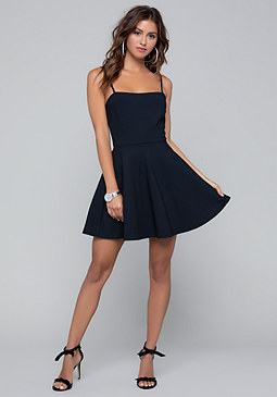 bebe Square Neck Flared Dress