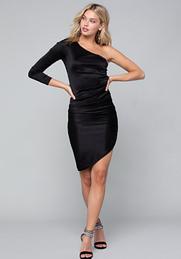 bebe Ruched One Shoulder Dress
