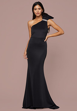 bebe Glam Bow One Shoulder Gown