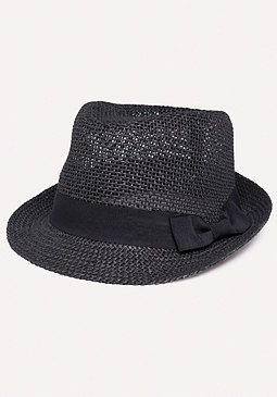 bebe Bow Band Straw Trilby