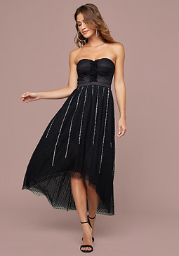 Bebe Crystal Burst Tulle Dress