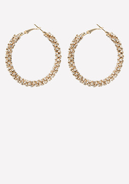 bebe Crystal Thick Hoop Earrings