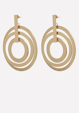 bebe Multi-Circle Drop Earrings