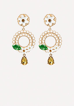 bebe Floral Drop Hoop Earrings