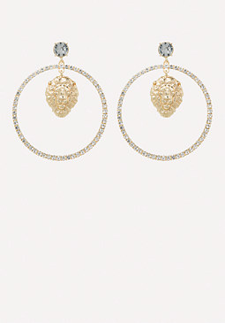 bebe Lion Face Hoop Earrings