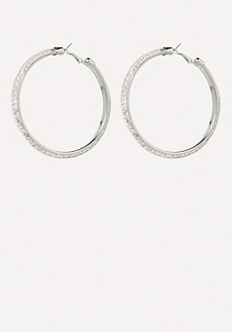 bebe Mesh Crystal Hoop Earrings