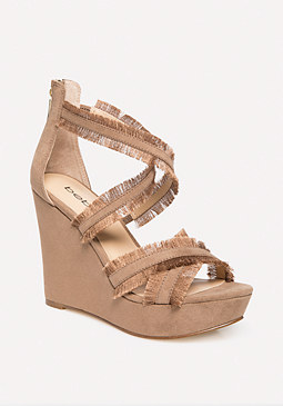 bebe Teri Fringe Wedge Sandals