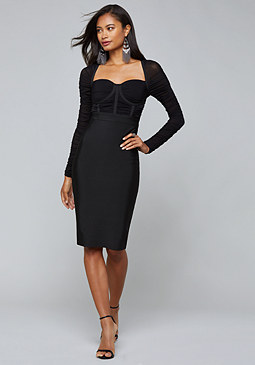 bebe Mesh Contrast Bandage Dress