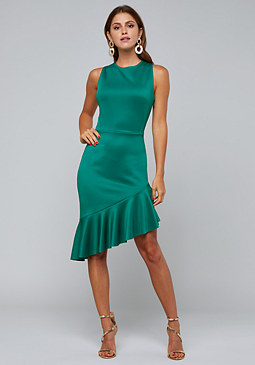 bebe Angled Flounce Hem Dress
