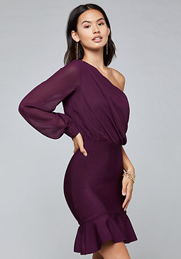 bebe Contrast One Shoulder Dress