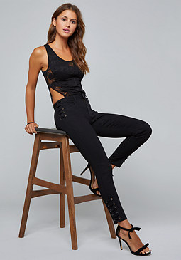 bebe Lace Side Cutout Bodysuit