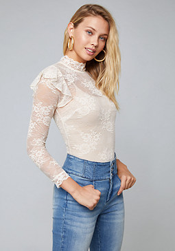 bebe Ruffled Lace Bodysuit