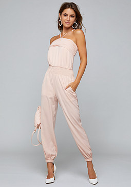 bebe Smocked Strappy Jumpsuit