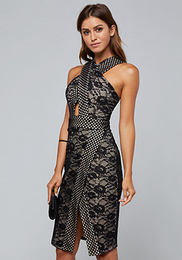 bebe Lace Peekaboo Halter Dress