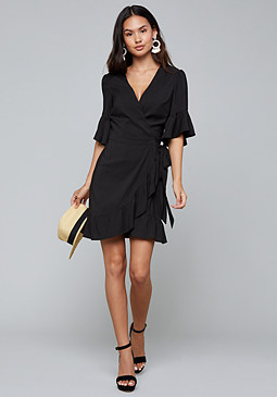 bebe Ruffled Wrap Dress