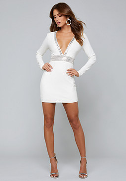 bebe Embellished Plunge Dress