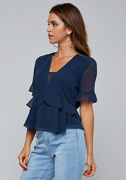 bebe Ruffled Peplum Top