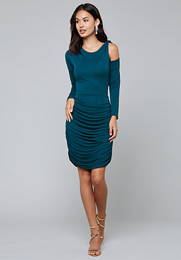 bebe Knot Detail Ruched Dress