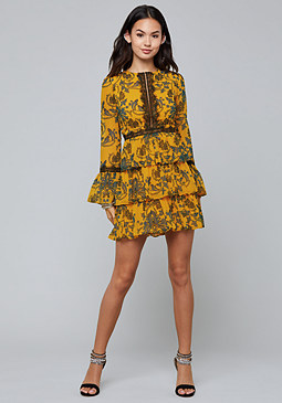 bebe Print Tiered Skirt Dress