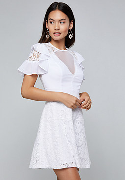 bebe Lace Detail Flared Dress