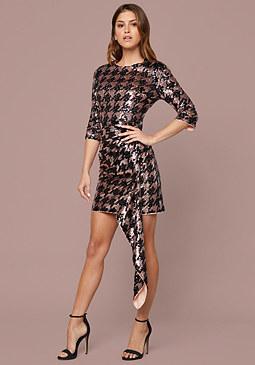 Bebe Sequin Drape Dress