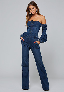 bebe Pen Off Shoulder Jumpsuit