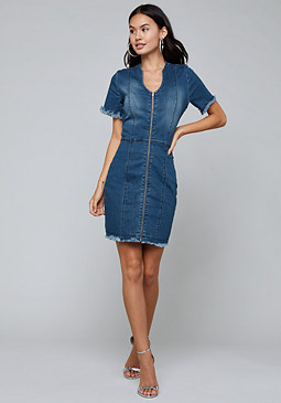 bebe Front Zip Denim Dress