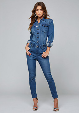 bebe Denim Rancho Jumpsuit