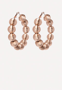 bebe Thread Ball Hoop Earrings