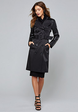 bebe Quilt Detail Trench Coat